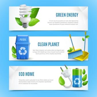 Jeu de bannière d'écologie papier réaliste