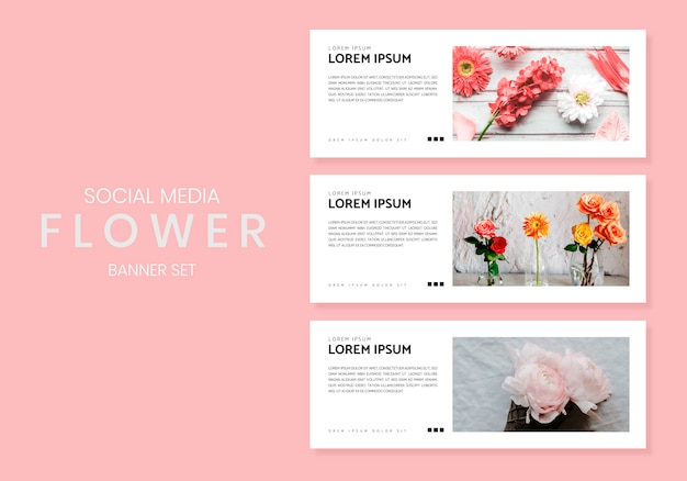 Jeu de bannière de fleur de médias sociaux