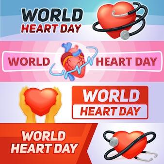 Jeu de bannière de jour de coeur mondial