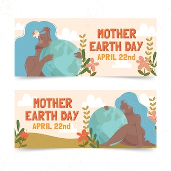 Jeu de bannière de jour de la terre mère dessiné à la main