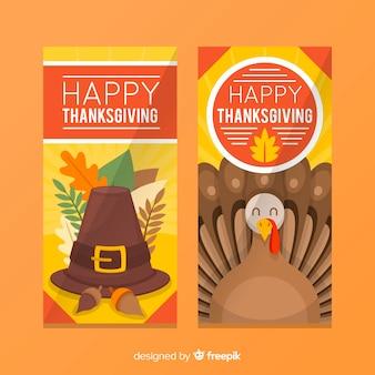 Jeu de bannière de joyeux dinde thanksgiving day