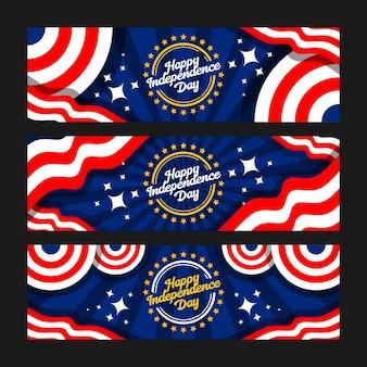 Jeu de bannière joyeux jour de l'indépendance du 4 juillet