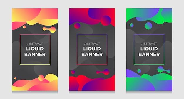 Jeu de bannière liquide abstraite