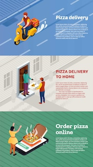 Jeu de bannière de livraison de pizza, style isométrique