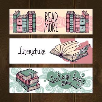 Jeu de bannière de livres rétro
