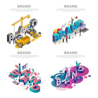 Jeu de bannière de marque. ensemble isométrique de bannière de vecteur de marque pour la conception web
