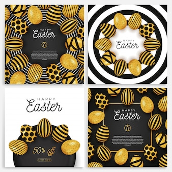 Jeu de bannière d'oeuf de pâques. collection de cartes de pâques avec des œufs disposés en cercle sur une plaque noire, des œufs ornés d'or et noirs