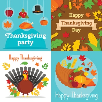 Jeu de bannière pour le jour de thanksgiving