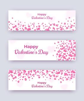 Jeu de bannière de saint valentin. coupons d'amour blancs avec coeurs roses et texte heureux. illustration de jour de femmes horizontales de vecteur, carte de mariage, bon cadeau, modèle de bon.
