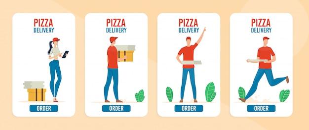 Jeu de bannière de service en ligne de livraison de pizza
