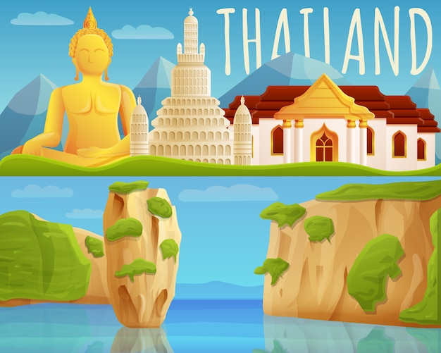 Jeu de bannière thaïlande, style cartoon