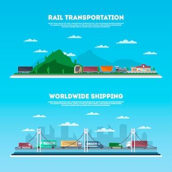 Jeu de bannière de transport routier et ferroviaire