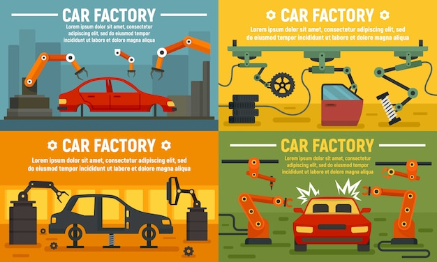 Jeu de bannière d'usine de voiture industrie