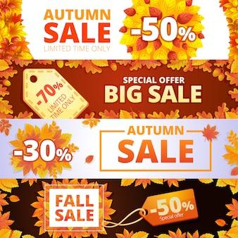 Jeu de bannière de vente d'automne