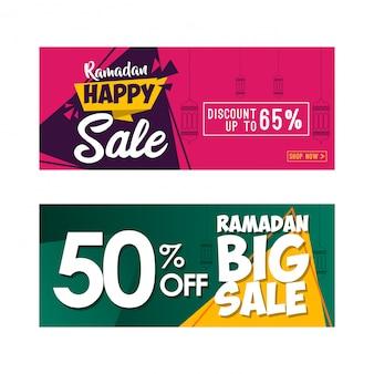 Jeu de bannière de vente ramadan