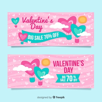 Jeu de bannière de vente saint valentin de couleur pastel