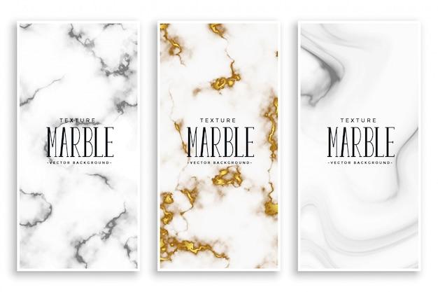 Jeu de bannières abstrait marbre texture