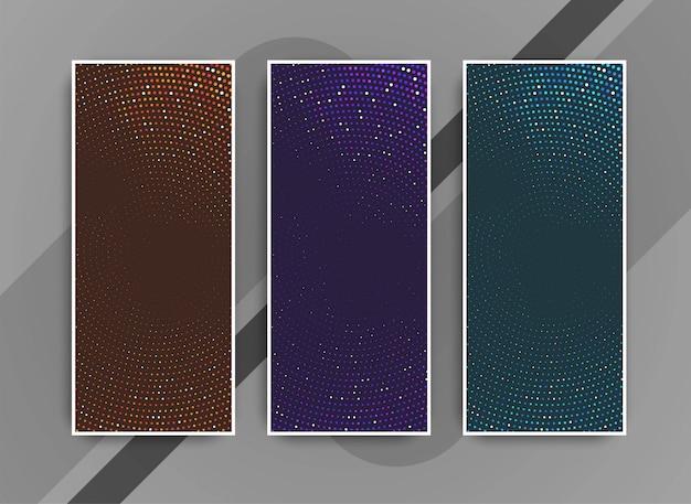 Jeu de bannières abstraites de points modernes colorés