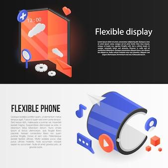 Jeu de bannières d'affichage flexible, style isométrique
