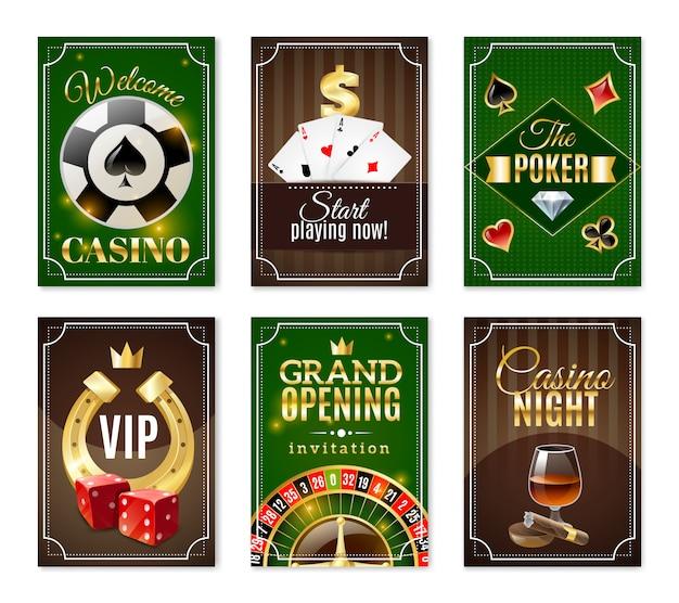 Jeu de bannières affiches mini cartes de casino