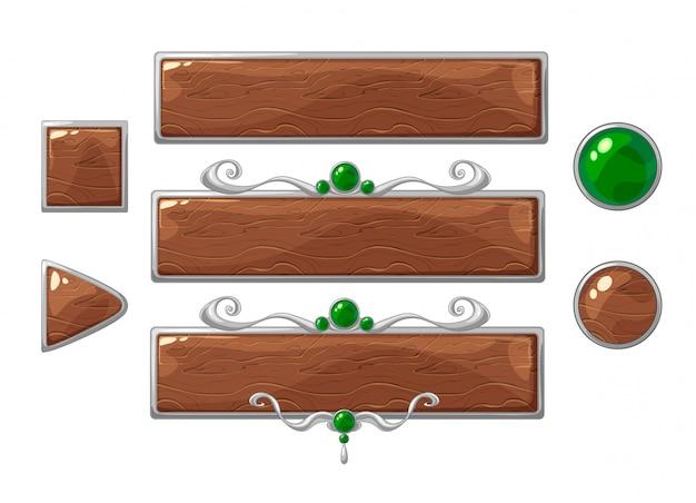 Jeu de bannières en bois titre vecteur dessin animé. cadres de classement en argent avec pierres précieuses vertes.