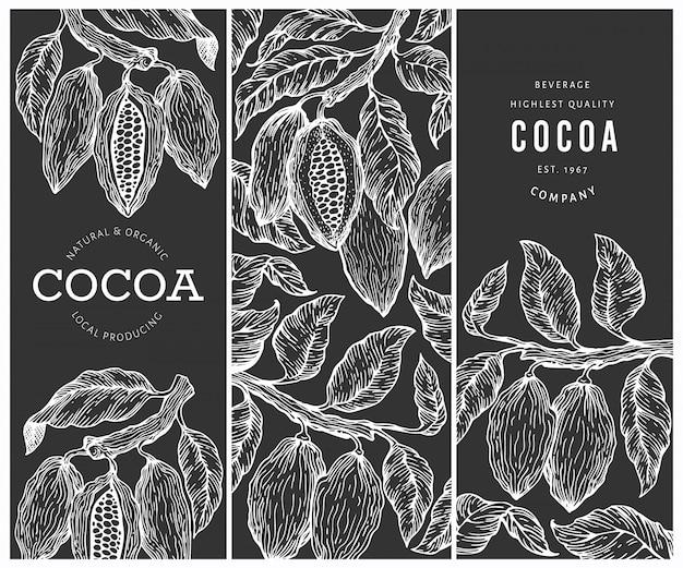 Jeu de bannières de cacao. fond de fèves de cacao au chocolat