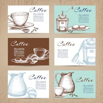 Jeu de bannières de cartes café vintage