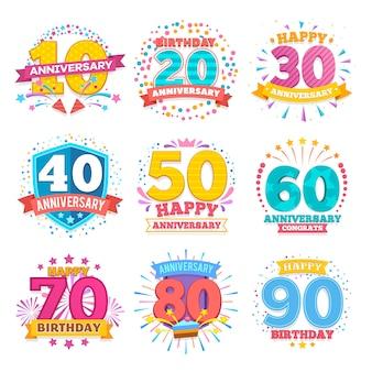 Jeu de bannières de célébration anniversaire