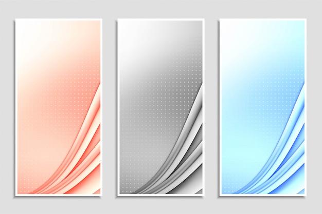 Jeu de bannières colorées ondulées abstraites