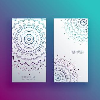 Jeu de bannières de conception de carte mandala
