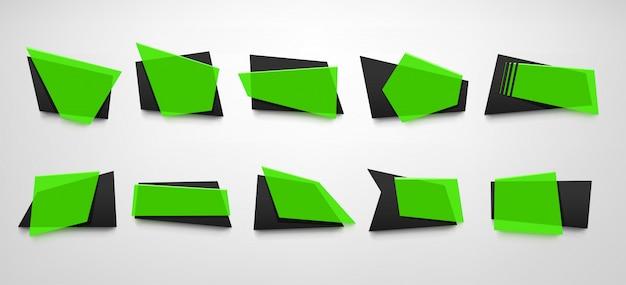 Jeu de bannières de couleur verte