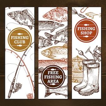 Jeu de bannières dessinés à la main de pêche
