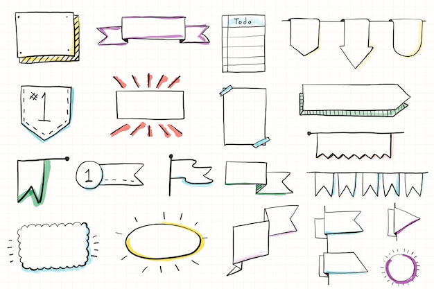Jeu de bannières de doodle bullet journal dessinés à la main