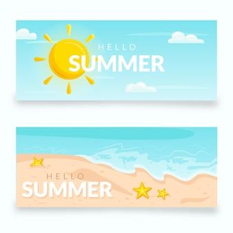Jeu de bannières d'été plat
