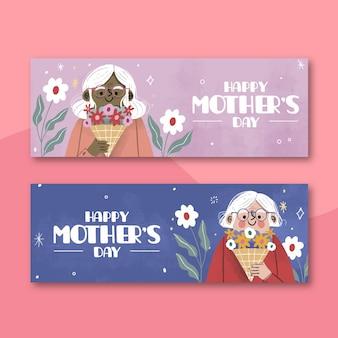 Jeu de bannières de fête des mères dessinés à la main