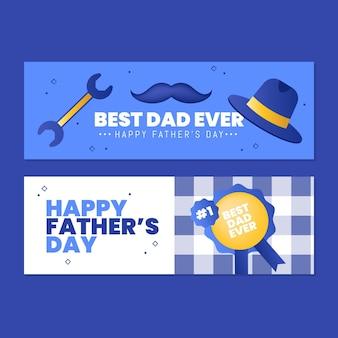 Jeu de bannières de fête des pères dégradé