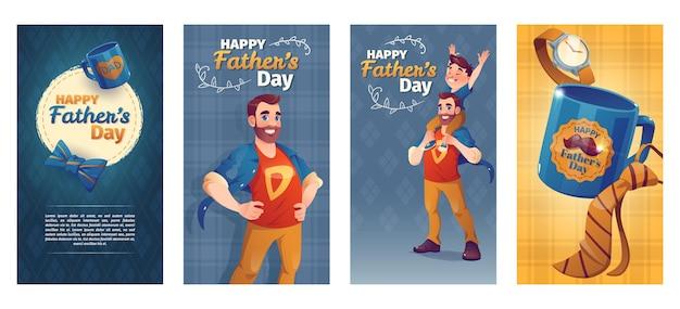 Jeu de bannières de fête des pères de dessin animé