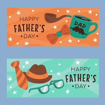 Jeu de bannières de fête des pères dessinés à la main