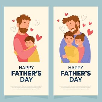 Jeu de bannières de fête des pères heureux dessinés à la main