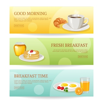 Jeu de bannières de l'heure du petit déjeuner