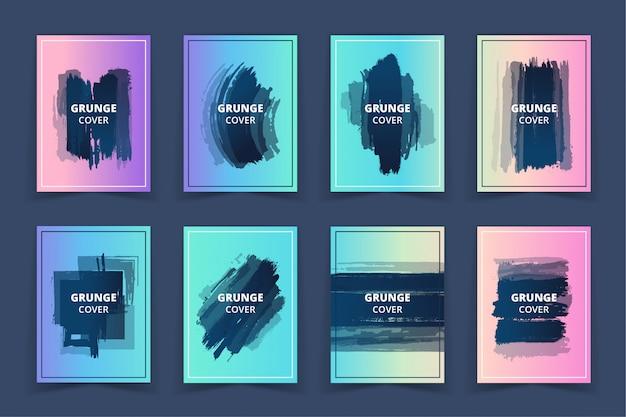 Jeu de bannières holographiques grunge art cover