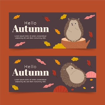 Jeu de bannières horizontales d'automne de dessin animé