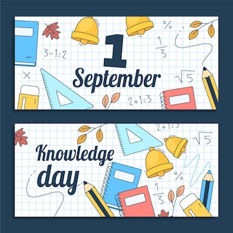 Jeu de bannières horizontales de dessin animé 1 septembre