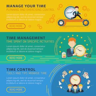 Jeu de bannières horizontales de gestion du temps