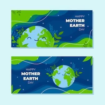 Jeu de bannières horizontales de jour de la terre mère