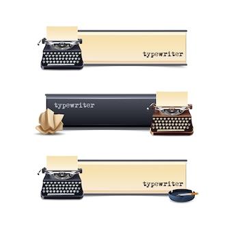 Jeu de bannières horizontales de machine à écrire