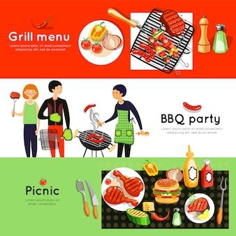 Jeu de bannières horizontales pour le barbecue