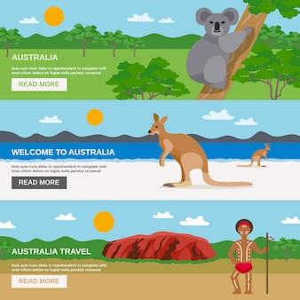 Jeu de bannières horizontales pour le voyage en australie