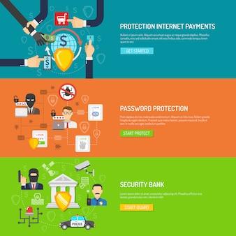 Jeu de bannières horizontales de sécurité bancaire
