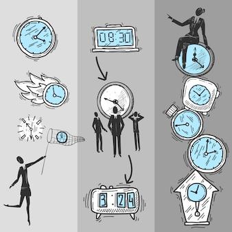 Jeu de bannières d'horloge